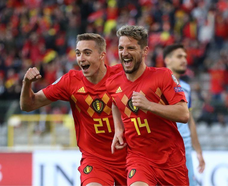 'Bondscoach Martínez weet dat ik de Rode Duivels iets kan bijbrengen. Ook doelpunten. Mijn eerste goal, na die geweldige voorzet van Dries Mertens, vergeet ik nooit meer.' Beeld