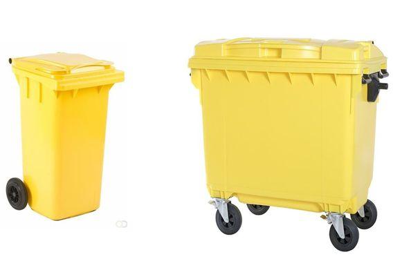 Een standaard container van 240 liter en een grote van 1100 liter voor de KMO's