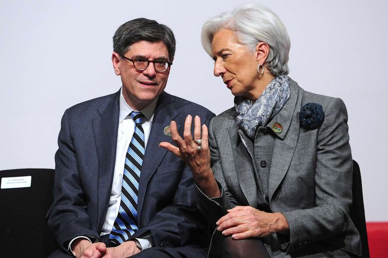 Jack Lew en Christine Lagarde.