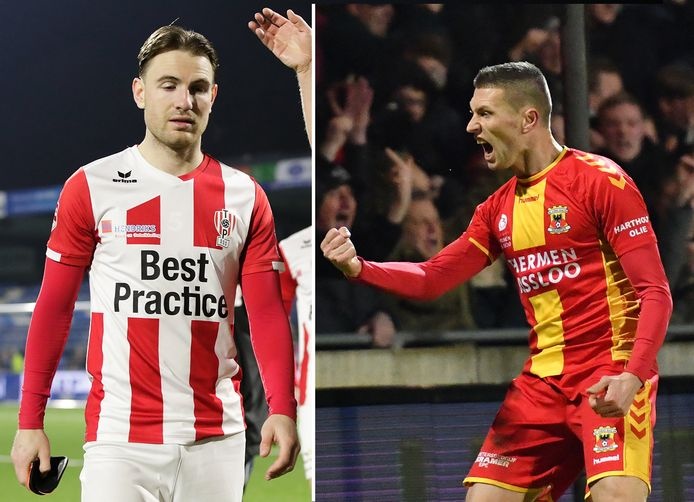 Cas Peters van TOP Oss en Alexander Bannink (rechts) van Go Ahead Eagles.