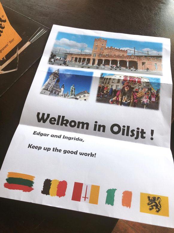 De uitbaters van de Irish pub kregen een briefje: 'Welkom in Oilsjt'.