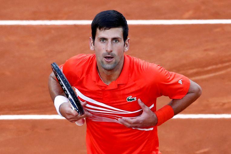 Djokovic met de 'boob-throwing celebration' na zijn winst eerder deze maand in de finale van Madrid tegen Tsitsipas.