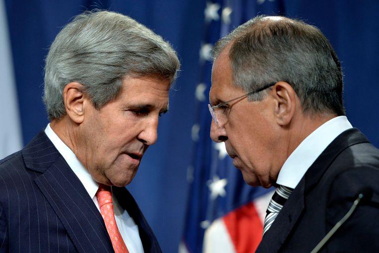 Kerry (L) en Lavrov vorig jaar in Genève. Beeld epa