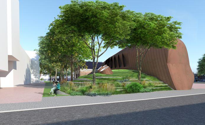 Onderdeel van de verbouwing van Mezz is ook dat de achterkant wordt uitgebreid met een opslagruimte, die geïntegreerd wordt in het landschap door er een groene heuve  over heen aan te leggen.