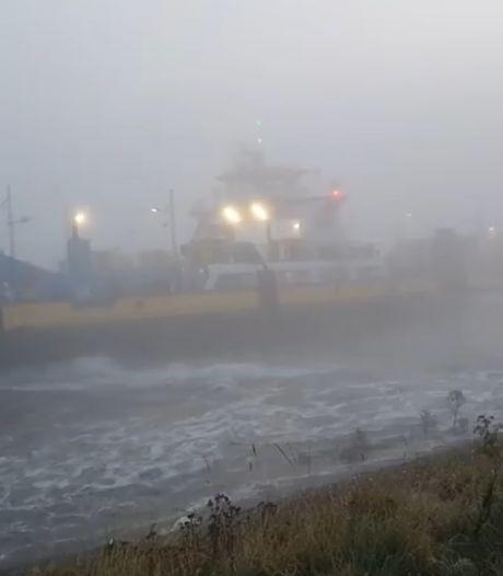 Veerpont tussen Maassluis en Rozenburg vastgelopen in de dichte mist