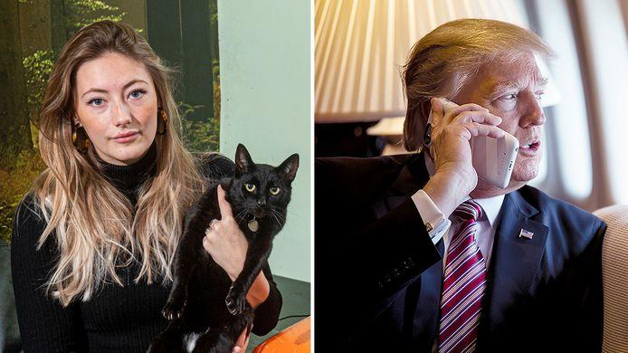 Een van de katten van Moira Verplak (links) is weg, heeft de Arnhemse kattenvanger hem? Rechts: Donald Trump.