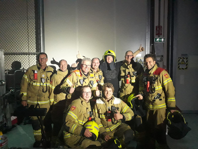 Edwin Evers en de brandweermannen.