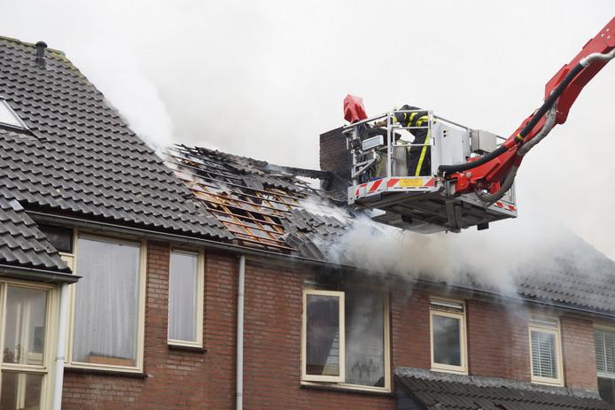 Het dak is beschadigd geraakt.