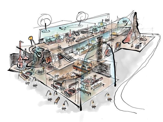 Een kunstige schets van het UIThuis en de verschillende functies.