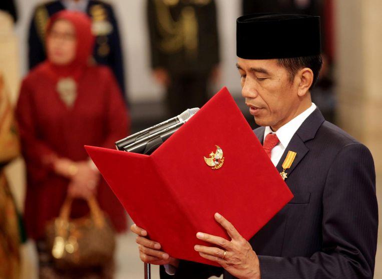 President Widodo benoemt van het nieuwe kabinet. Beeld epa