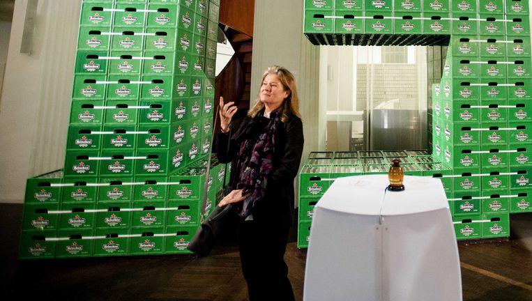 Charlene Carvalho-Heineken vorig jaar tijdens het 150 jarige bestaan van Heineken. Ze stak in 30 miljoen in de bierbrouwerij. Beeld epa