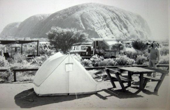 De bewuste tent waaruit baby Azaria verdween. Het gezin kampeerde in augustus 1980 nabij Uluru (Ayers Rock).