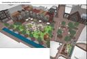 Het plan voor het stadsstrand.