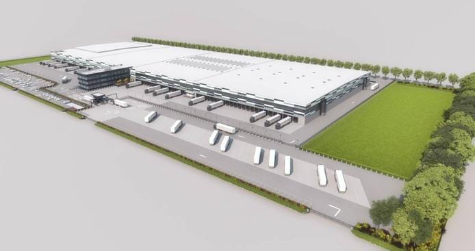 Schets van de Lidl-distributiehal die nu in Waddinxveen gebouwd wordt. Overbetuwe wil graag dezelfde vorm gevelplaten, zodat de 500 meter lange loods beter aansluit bij de 'buurhal' van Nabuurs/Heinz/Mars.