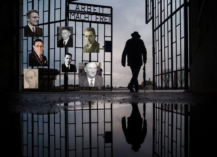 Concentratiekamp Sachsenhausen met portretten van de zeven burgemeesters.