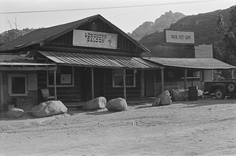 De filmranch van George Spahn in Californië, waar de Manson Family verbleef, in augustus 1970.