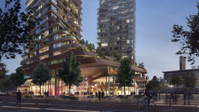 'ZUS   Zones Urbaines Sensibles' . Impressie van het plan District E van projectontwikkelaar/belegger Amvest en bureau Powerhouse Company voor het Stationsplein in Eindhoven.