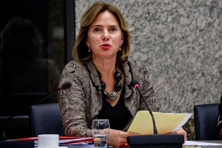 Minister Cora van Nieuwenhuizen van infrastructuur en waterstaat tijdens de vergadering over de Stint. Beeld ANP, Robin Utrecht