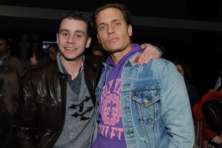 Winston Post (rechts)  hier samen met Sam Gooris op de première van een  K3-film in  Antwerpen. Foto uit  december 2012.