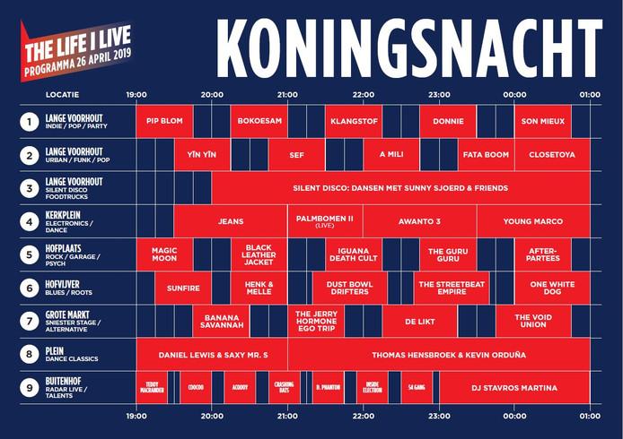 Timetable The Life i Live 's nachts