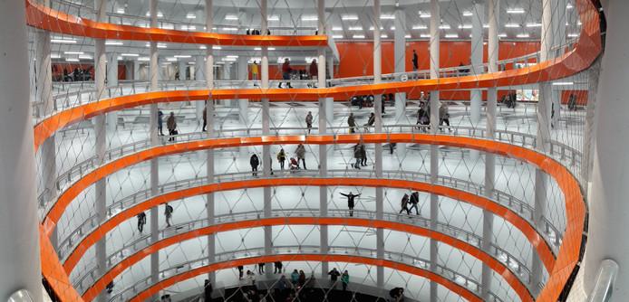 De spiraalvormige parkeergarage aan de Leidse Lammermarkt is met 22,5 meter de diepste van Nederland en West-Europa