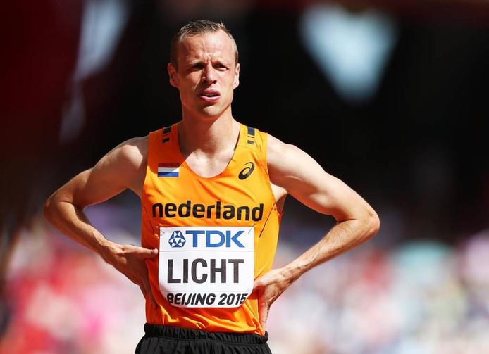 Dennis Licht na de 800 meter bij de wereldkampioenschappen atletiek in Peking, augustus 2015