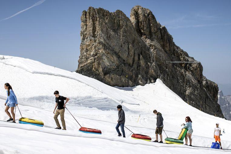 In de sneeuw, niet in skikleding maar in korte broek. Het kan. Terwijl we in Nederland op het terras zitten, genieten toeristen in Zwitserland van de zomerse temperaturen op de Titlis, een berg in de Zwitserse Alpen op de grens van de kantons Obwalden en Bern. Beeld EPA