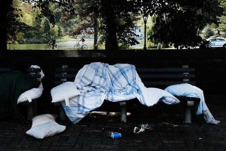 Spullen van een dakloze in Central Park, New York (archieffoto)
