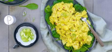Wat Eten We Vandaag: Farfalle met kerriesaus en witvis