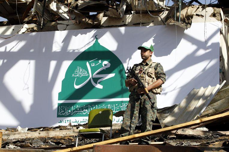Een Houthi-strijder in Sanaa, de hoofdstad van Jemen.
