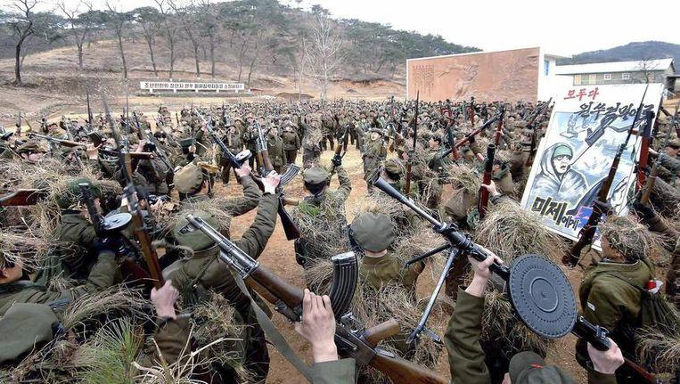 Noord-Koreaanse soldaten bij een militaire training. Beeld reuters