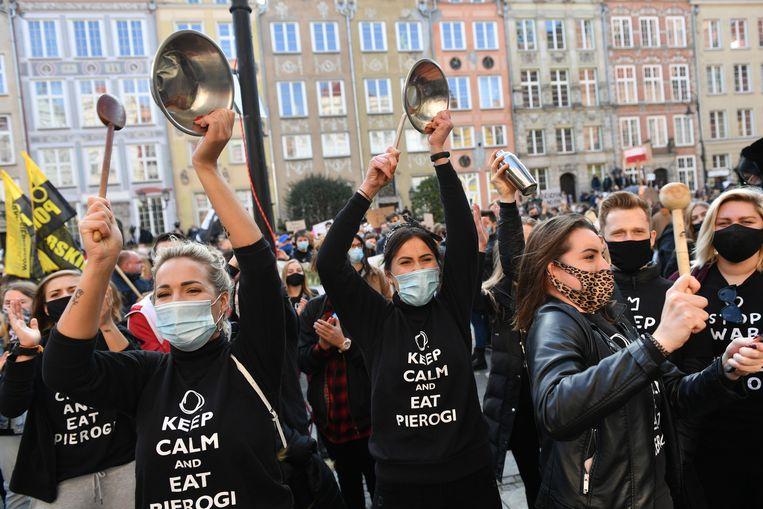 Protesten in de Poolse stad Gdansk. Beeld EPA