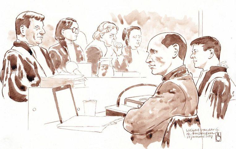 Tekening van Volkert van der G. in de rechtbank van Amsterdam, met rechts advocaat Willem Jebbink en links Officier van Justitie Robben. Beeld null