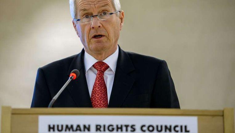Thorbjoern Hagland, voorzitter van de Raad van Europa, dinsdag tijdens een toespraak bij de Mensenrechtenraad van de VN. Jagland waarschuwde dat de positie van Europese minderheidsgroeperingen verslechtert. Beeld afp