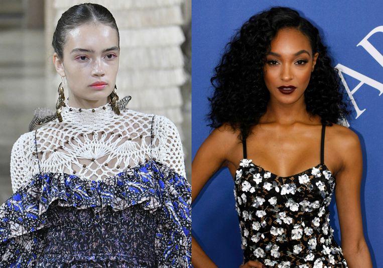 Links: model met popsicle stained lipstick. Rechts: model met matte lipstick.