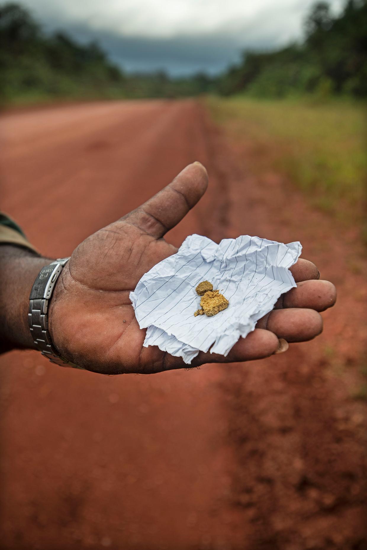 Suriname, Bos Langatabiki,18-6-2018 Bob, chauffeur en manusje van alles  uit Brazilie, laat 5 gram goud zien de palm van zijn hand, met een waarde van ongeveer 500 US dollar.