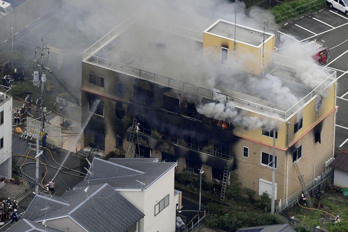 De uitslaande brand in de animatiestudio in Kyoto in 2019.