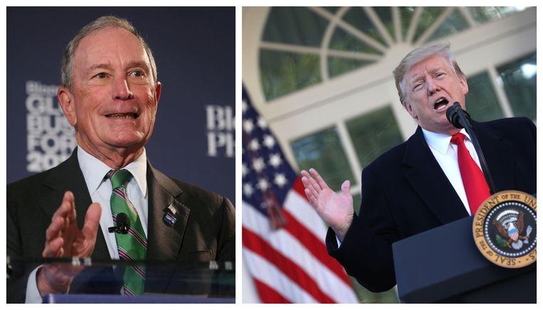Oud-burgemeester van New York, Michael Bloomberg (l.) en Amerikaans president Donald Trump (r.)