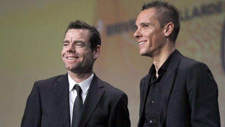 Evans (links) en Gilbert, komend seizoen ploeggenoten bij BMC. Beeld reuters