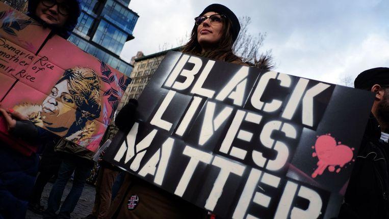 Betogers tijdens een actie tegen racisme in New York vorige maand.
