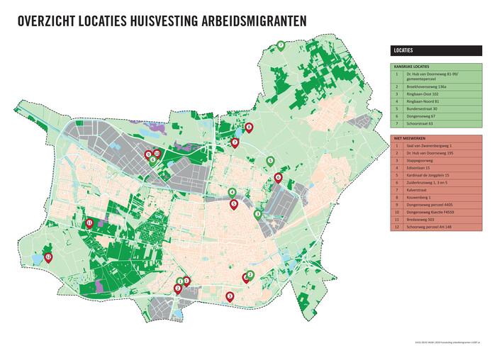 De kansrijke en de niet gehonoreerde locaties voor logiesverblijven van arbeidsmigranten, volgens B en W van Tilburg eerder dit jaar.