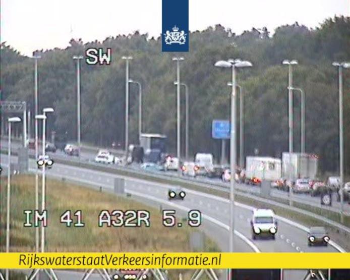 File op de A28 bij Staphorst.