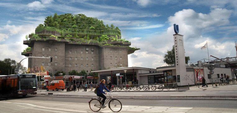 Illustratie van de plannen voor een dakpark op de Hamburgse Flakbunker (Flak is de afkorting voor Flugabwehrkanone).