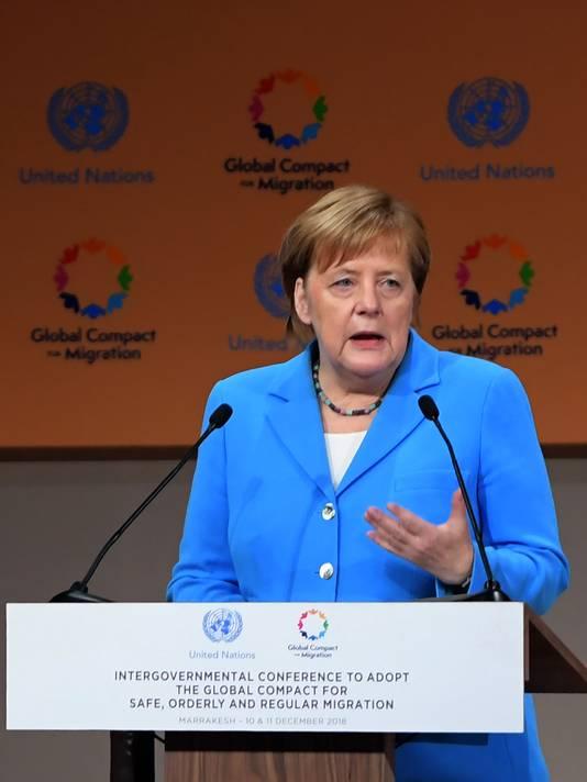 Merkel noemde migratie in haar speech een verschijnsel van alle tijden.