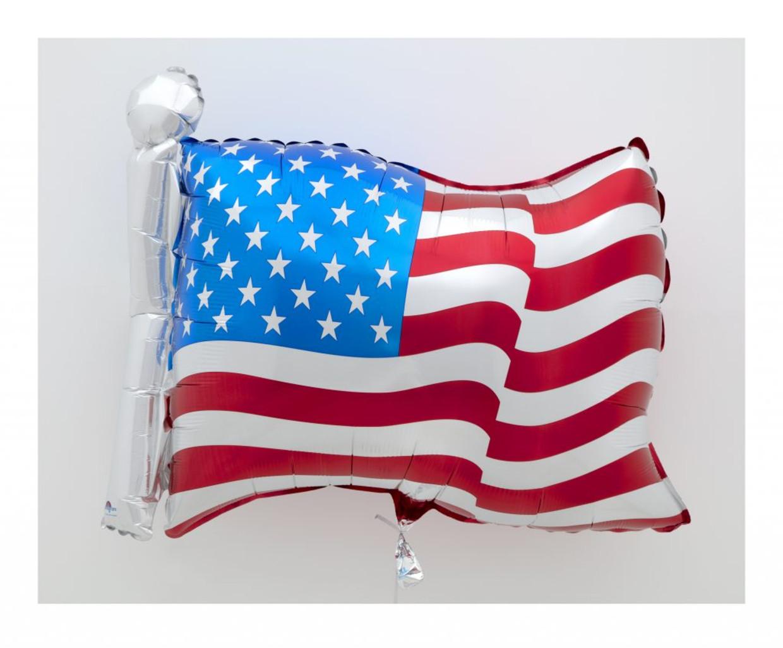 'Flag'(2020) van Jeff Koons is één van de werken op de grote onlinekunstveiling Artists for Biden. De opbrengst is voor de financiële ondersteuning van de verkiezingscampagne van Joe Biden.  Beeld Jeff Koons via David Zwirner
