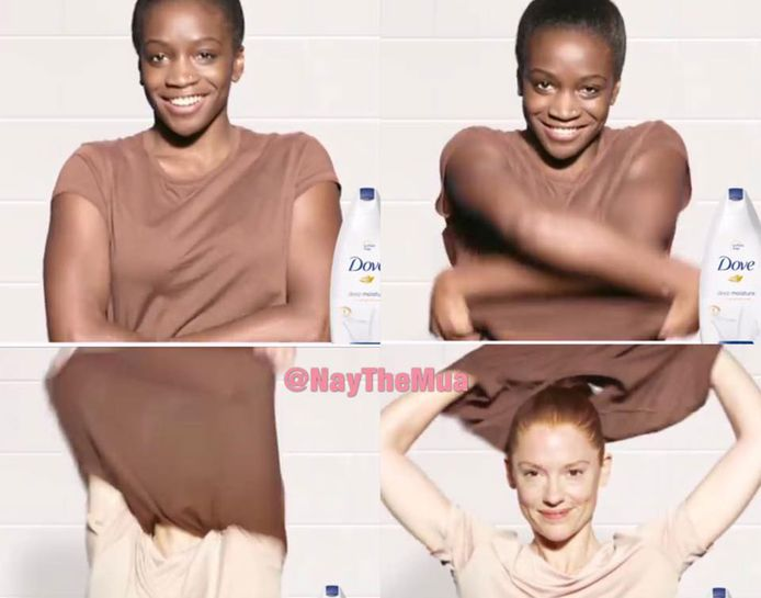 In een omstreden Dove-reclame trekt een zwarte vrouw haar shirt uit om in een witte vrouw te veranderen.
