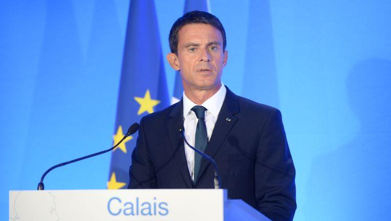 De Franse premier Valls in Calais vandaag.