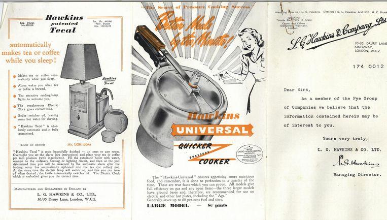 Advertentie voor een snelkookpan met ventiel, maar nog zonder drukregelaar, 1936. Beeld getty