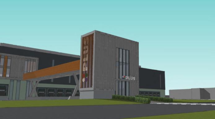 Illustratie van de toekomstige entree van het distributiecentrum in Oss