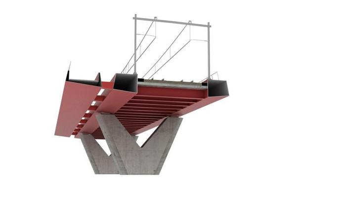 De nieuwe fiets- en spoorbrug van de onderkant gezien. illustratie ProRail